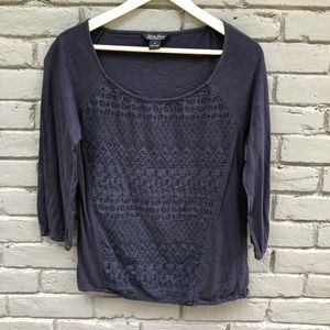 Lucky Brand Navy Embroidered Eyelet Blouse sz M